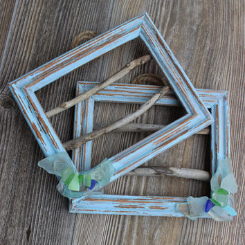 Art Frames for Beach Room Decor , Nautical Decorating , Seaglass & Driftwood Wall Frame Set