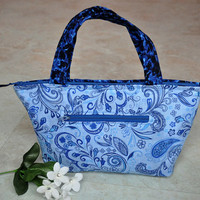 Small thermal lunch bag, pretty blue paisley zippered lunch tote, insulated lunchbox, reusable lunch box, unique lunch bag for women