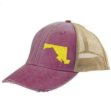 Maryland Hat - Distressed Snapback Trucker Hat - off-center state pride hat - Pick your colors