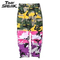 Patchwork Cargo Pants Men Baggy Tactical Trousers Hip Hop Casual Multi Pocket Pant Camouflage Street wear