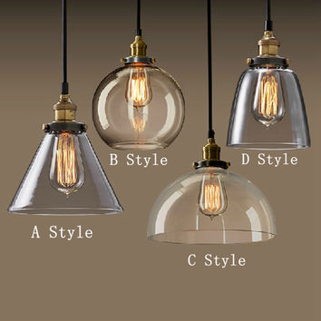 Modern Fashion American Industrial Vintage Creative Retro Loft Pendant Light Glass Bedside Aisle Restaurant Lamp Shipping