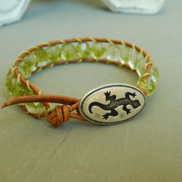 Leather wrap bracelet, lime green czech glass, gecko button, bohemian, summer stack, summer style, beaded wrap, layer bracelet
