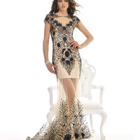 Nude & Black Lace Sheer Mermaid Dress Prom 2015