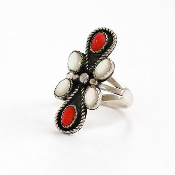 Vintage Sterling Silver Mother of Pearl & Coral Ring- Size 8 Retro Southwestern Native American Style Large Statement Jewelry