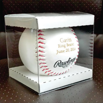 Engraved Baseball for Player or Coach, Newborn, Ring Bearer in Display Box