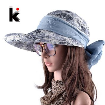 Summer Beach Hats For Women Foldable Bow Wide Brim Visor Caps Anti-UV Sun Chapeau Feminino With Neck Flap Hoeden Voor Vrouwen