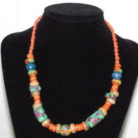 Orange Hemp with Clay Wood Glass beads 17.5 in Necklace