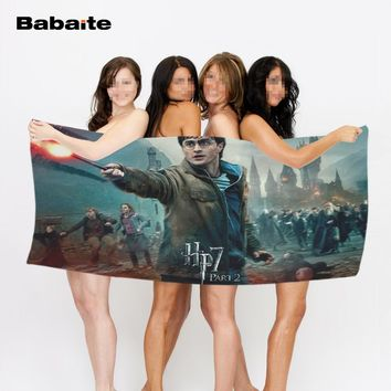 Babaite Harry Potter the Deathly Hallows Silver Doe Art Beach Bath Towel for Kids Adults Drying Swimming Blanket Drap De Plage