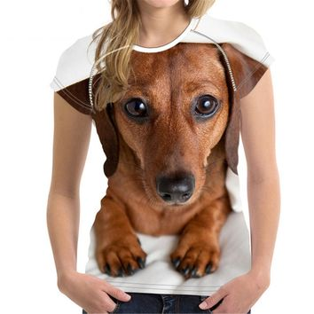 Dachshund Dog All Over Print T-Shirts - Women's Top Tee