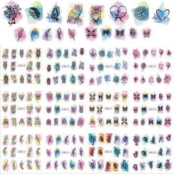 12Designs Beauty Watercolor Nail Art Sticker Decals Nails Decorations DIY Tattoos Manicure Tools Flower Owl Styles BN409-420