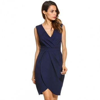Women Elegant Draped Wrap Front V-Neck Sleeveless Bridesmaids Wedidng Guest Party Short Dress