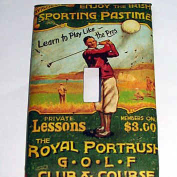 Light Switch Cover - Light Switch Plate Bicycle Vintage Irish GOLF Ad
