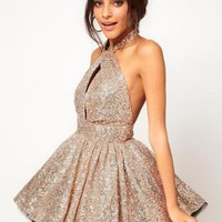 Starry Sexy backless lace sequined tutu dress gold
