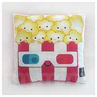 Decorative Pillow, Popcorn Pillow, 3D Glasses, Movie Night, Birthday, Party Favor, Kawaii, Cushion, Room Decor, Childrens Toys, 16 x 16""