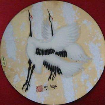 Japanese Charger By Kano Signed by Artist Decorated Flamingo Birds