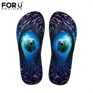 FORUDESIGNS Men's Flip Flops Soft 3D Underwater World Animals Printed Summer Beach Water Slippers Lightweight Male Flats Sandals