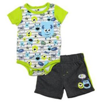 Monsters Inc. Baby Boys' Bodysuit & Short Set - Blue : Target