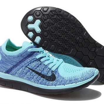 Women's Nike Free 4.0 Flyknit Shoes Glacier Ice/Black