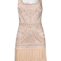 Sue Wong N3207 Fringe Flapper Dress Peach