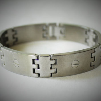 Vintage Stainless Steel Men's Link Bracelet with Screw Detail