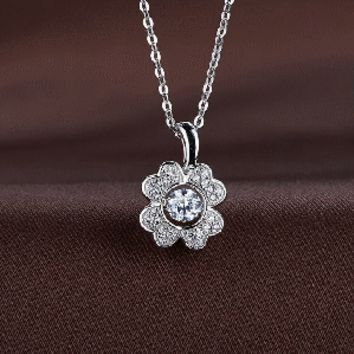 Mini Flower Petal Swarovski Crystal Necklace