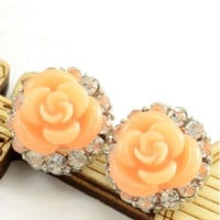 "Coral Rose Flower Crystal Earrings small round gauges plugs earring 0g 00g 7/16"" 1/2"" 8mm 10mm 11mm 13mm"