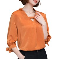 Blouse 2017 Fashion Summer Tops Shirts Female Solid Bow Tie Half Sleeve V Neck Ladies Shirts Office Work Wear Women Blouse