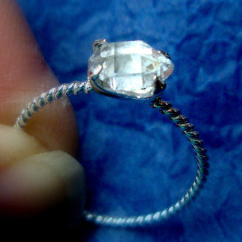 Ring - Herkimer diamond rough in eco-friendly recycled sterling silver emerald setting - Custom made size - Ukraine Adoption fund raiser