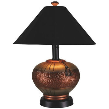 Phoenix Copper Outdoor Table Lamp with Black Sunbrella Shade
