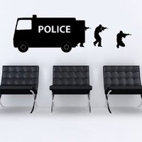 Wall Decal Vinyl Sticker Decals Art Decor Design Bedroom Dorm Office Nursery SWAT police car kids children game police man (R1479)