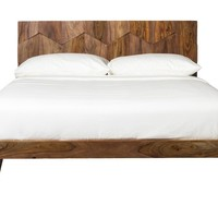 O2 Bed Queen Sheesham Wood Iron Bar With Allen Bolts