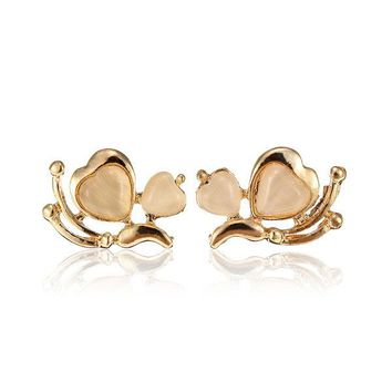 White Opal Butterfly Gold Plated Stud Earrings