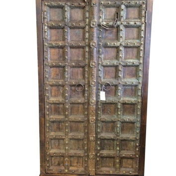 Rustic Brown Vintage Media Cabinet Armoire Storage Cabinet 3 Shelves-Chic Warm Industrial