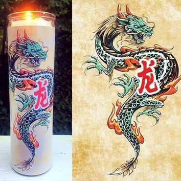 Chinese Dragon, Dragon, Chinese, Fantasy, Japan, Oriental Dragon, Cool Gift Idea, Home Decor,  Scented  Candle, Prayer Candle, Gift Idea,