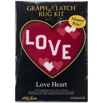 "Love Heart Shaped Latch Hook Kit 30""X27"""