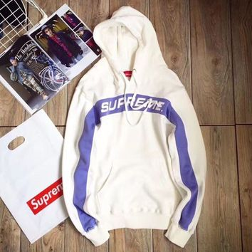 One-nice™ Supreme 5 Colors Patchwork Knit Hoodies Sweatershirt [11555860620] White I