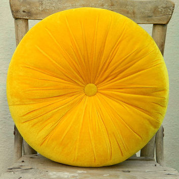 Sweet yellow velvet round pillow 16 by originalboutique on Etsy