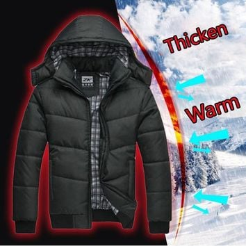 Men's winter Hoodies Quilted Jacket Warm Fashion Male Puffer Overcoat Parka Outwear Winter Cotton Padded Hooded Coat Men