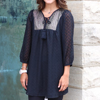 Turns to Gold Tunic Dress {Black}