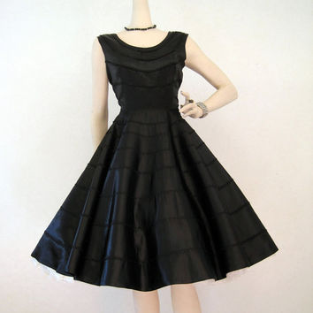 50s Dress Vintage Black Satin Circle Skirt Cocktail Party Dress M