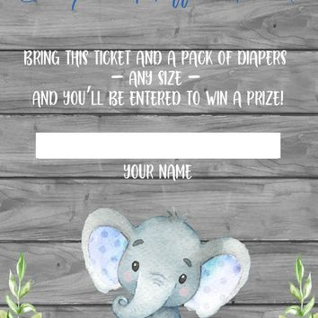 Blue Elephant Diaper Raffle Ticket