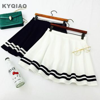 KYQIAO Mori girls Japanese navy white black stripe a-line skirt, Lolita sailor skirt, Cosplay costumes, Japan school uniform