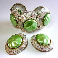 Green Baroque Pearl Bracelet Earrings Set, Selro Style, White Enamel, Vintage