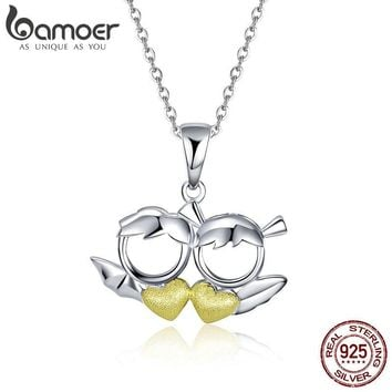 BAMOER New Arrival 100% 925 Sterling Silver Couple Devil Loves Angel Necklaces Pendant For Women Sterling Silver Jewelry SCN284