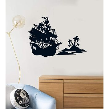 Vinyl Wall Decal Pirate Ship Island Boys Kids Room Creative Decoration Stickers Mural (ig5451)