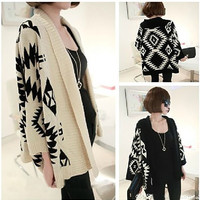 Knitting Batwing Long Sleeved  Sweater Women Cardigan Coat Free Size  2 Colors (Black and Apricot) = 1667673796