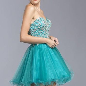 Strapless Sweetheart Neckline Multi Layer Dress