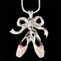 Pink Swarovski Crystal BALLERINA Slippers Ballet Dance Shoes Pendant Necklace Christmas Gift New