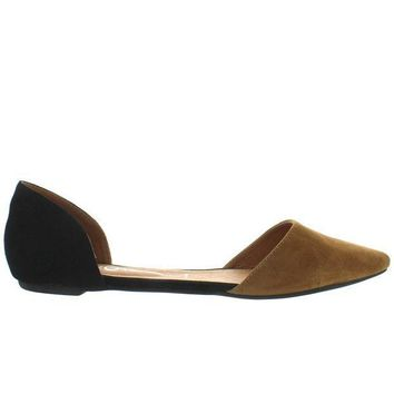 CREYONIG Jeffrey Campbell In Love - Nude/Black Suede D'Orsay Slip-On Flat