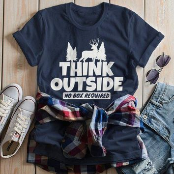 Women's Think Outside T Shirt Funny Camping Shirts No Box Required Deer Tee Explore